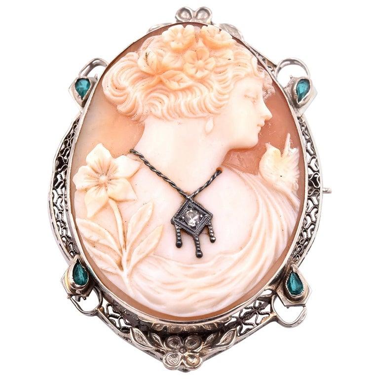 6e4472da055dd 14 Karat White Gold Vintage Emerald and Diamond Cameo Pin/Pendant