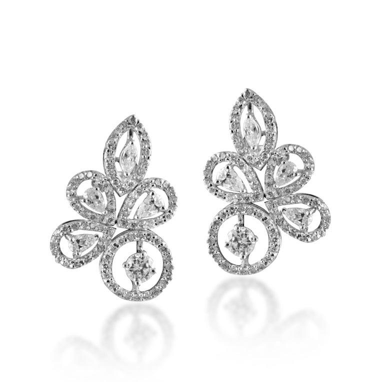 Mixed Cut 14 Karat White Gold White Diamond Stud Earrings For Sale