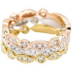 14 Karat Gold, Yellow Gold, Rose Gold 0.50 Carat Diamond 'Bubble' Band Ring