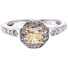 14 Karat White Gold Yellow Princess Cut Diamond Engagement Ring