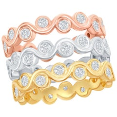 14 Karat White, Yellow, and Rose Gold Diamond Bezel Stacking Rings