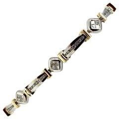 14 Karat White Yellow Gold Two-Tone 2.69 Carat Diamond Bracelet