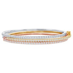 14 Karat White, Yellow, Rose Gold Diamond Bangle Halfway