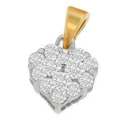 14k Yellow 1/2 ct TDW Round Cut Diamond Heart Halo Pendant Necklace 'H-I,I1-I2'