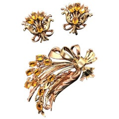 14 Karat Yellow and Rose Gold Gemstone Earrings and Brooch Suite