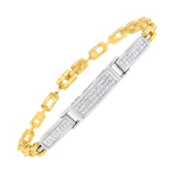 14k Yellow and White Gold 1 Ct TDW Diamond Tennis Bracelet 'H-I,SI1-SI2'