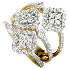 14 Karat Yellow and White Gold Diamond 3 Flower Ring