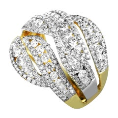 14 Karat Yellow and White Gold Diamond Split Ring