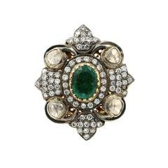 14 Karat Yellow and White Gold Emerald 8.00 Carat Diamond 0.69 Carat Ring