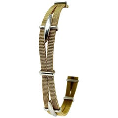 14 Karat Yellow and White Gold Two-Tone Fancy Mesh Bracelet