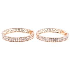 14 Karat Yellow Diamond Double Row Hoop Earrings