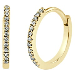 14 Karat Yellow Gold 0.07 Carat Diamond Huggie Hoop Earrings