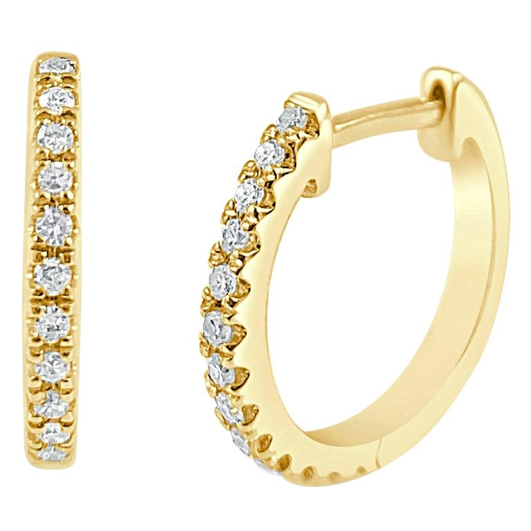 14 Karat Yellow Gold 0.09 Carat Diamond Huggie Hoop Earrings