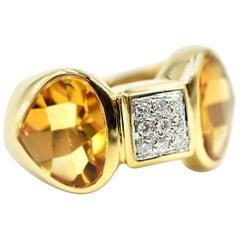 "14k Yellow Gold 0.15cttw Round Diamond & Citrine Fashion Ring Signed ""Antonili"""