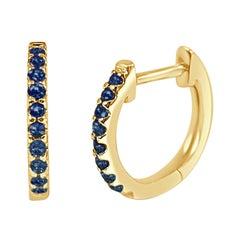14K Yellow Gold 0.18 Carat Blue Sapphire Huggie Earrings