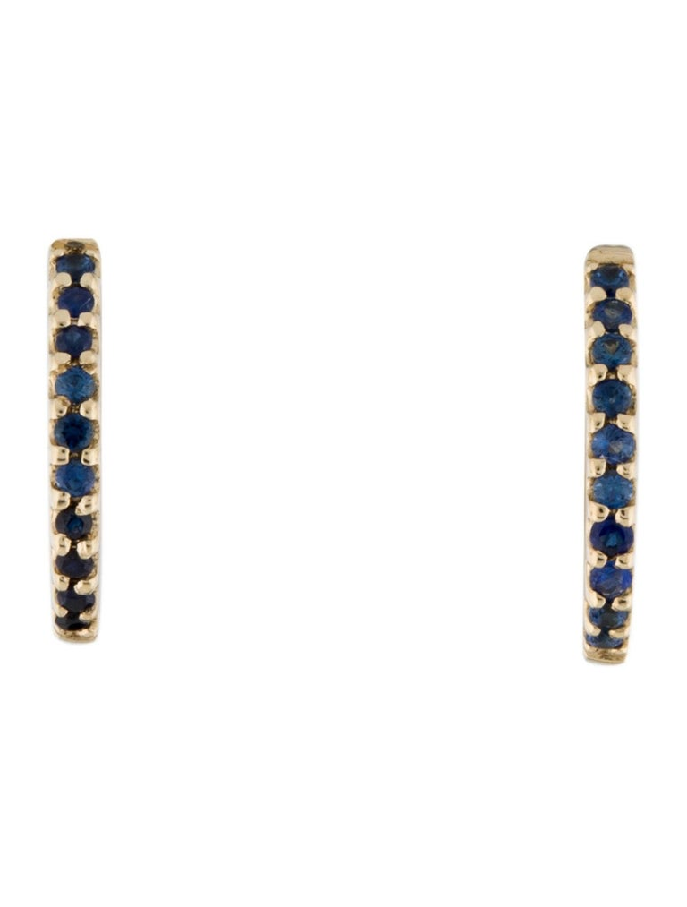 Round Cut 14K Yellow Gold 0.18 Carat Blue Sapphire Huggie Hoop Earrings For Sale
