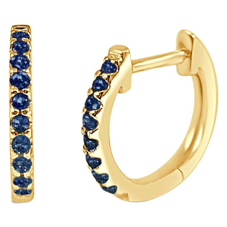 14K Yellow Gold 0.18 Carat Blue Sapphire Huggie Hoop Earrings For Sale