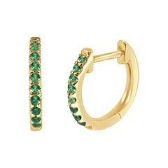14K Yellow Gold 0.18 Carat Green Emerald Huggie Earrings