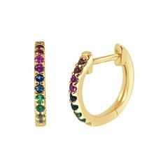 14k Yellow Gold 0.18 Carat Rainbow Sapphire Huggie Earrings