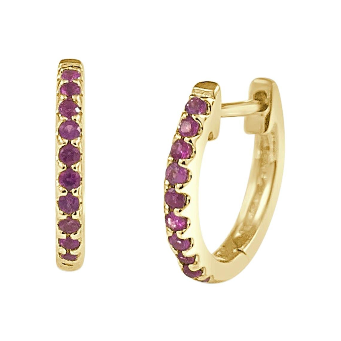 14K Yellow Gold 0.18 Carat Red Ruby Huggie Earrings