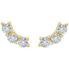 14 Karat Yellow Gold 0.30 Carat Diamond 3-Stone Stud Earrings