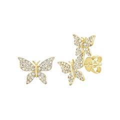 14k Yellow Gold 0.35 Carat Diamond Butterfly Earring