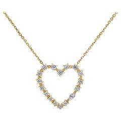 14k Yellow Gold 0.37 Carat Heart Shaped Diamond Pendant Necklace, Shlomit Rogel