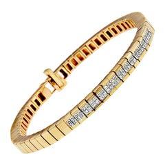 14K Yellow Gold 1 1/10ct TDW Princess Cut Diamond Banded Bracelet 'H-I,SI1-SI2'