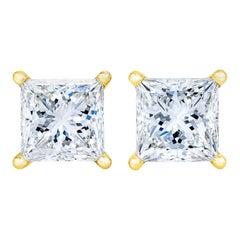 14k Yellow Gold 1/5 Carat Diamond Baby Petite Stud Earrings