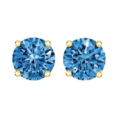 14k Yellow Gold 1.0 Cttw Lab Grown Blue Diamond Classic Solitaire Stud Earrings