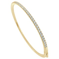 14 Karat Yellow Gold 1.00 Carat Diamond Bangle Bracelet