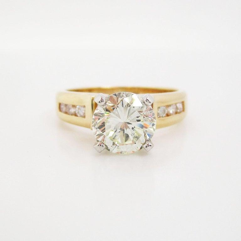 Modern 14 Karat Yellow Gold 1.5+ Carat Diamond Engagement Ring For Sale