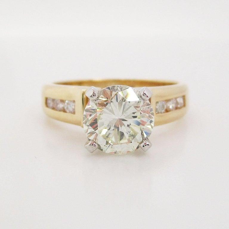 Round Cut 14 Karat Yellow Gold 1.5+ Carat Diamond Engagement Ring For Sale