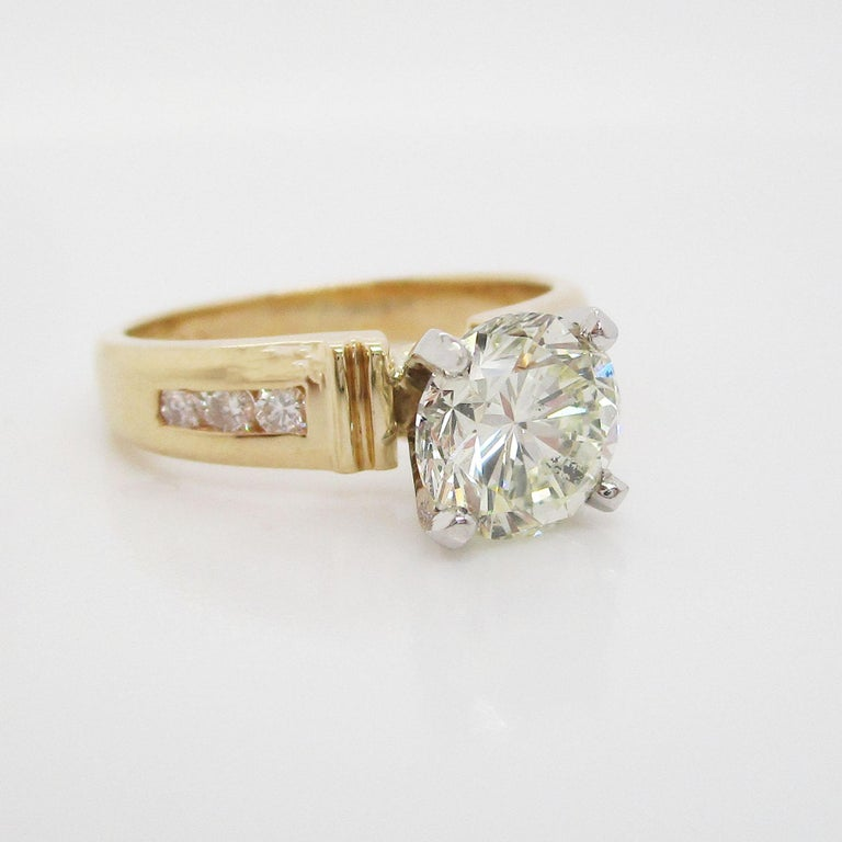 14 Karat Yellow Gold 1.5+ Carat Diamond Engagement Ring In Excellent Condition For Sale In Lexington, KY