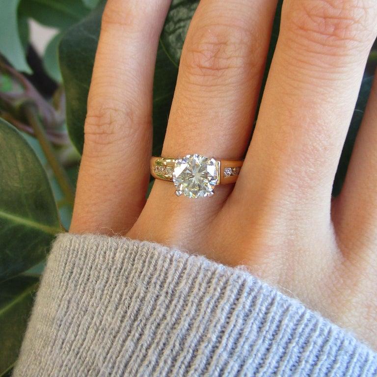 Women's 14 Karat Yellow Gold 1.5+ Carat Diamond Engagement Ring For Sale
