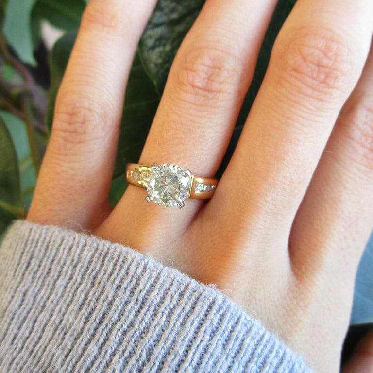 14 Karat Yellow Gold 1.5+ Carat Diamond Engagement Ring For Sale 1
