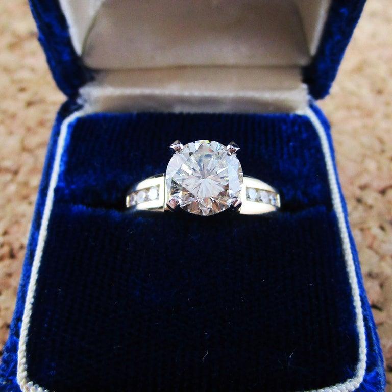 14 Karat Yellow Gold 1.5+ Carat Diamond Engagement Ring For Sale 2