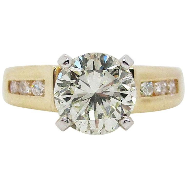 14 Karat Yellow Gold 1.5+ Carat Diamond Engagement Ring For Sale