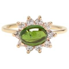 14K Yellow Gold, 1.65CT Green Tourmaline & .40CTW Diamond Halo Statement Ring