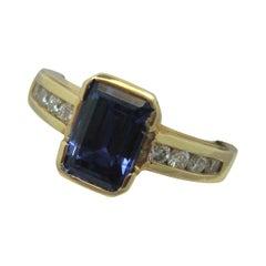 14k Yellow Gold 2.17ct Emerald Cut Genuine Natural Tanzanite Ring '#J1840'