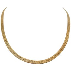 14 Karat Yellow Gold 23.5g Solid Herringbone Link Chain Necklace, Italy