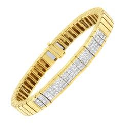 14k Yellow Gold 3 5/8 Cttw Invisible Set Princess Diamond ID Tennis Bracelet