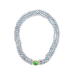 14K Yellow Gold 3 Strand Gray Cultured Salt Water Pearl with Jade Clasp and Bug