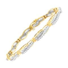 14K Yellow Gold 3ct TDW Winding Love Diamond Link Bracelet 'H-I,SI1-SI2'