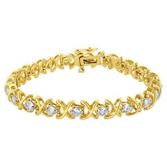 "14K Yellow Gold 4.0 Carat ""X""-Link Round-Cut Diamond Bracelet"