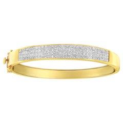 14K Yellow Gold 4.00 Carat Invisible-Set Princess Cut Diamond ID Bangle Bracelet