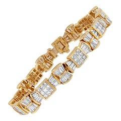 14k Yellow Gold 9 7/8 Cttw Princess and Baguette Cut Diamond Love Bows Bracelet