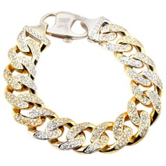 14 Karat Yellow Gold 9.80 Carat Diamond Cuban Link Bracelet