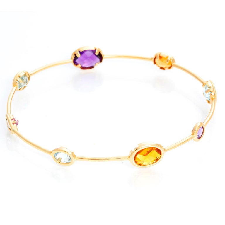 14 Karat Yellow Gold Amethyst, Aquamarine and Citrine Bracelet In Excellent Condition For Sale In Dallas, TX