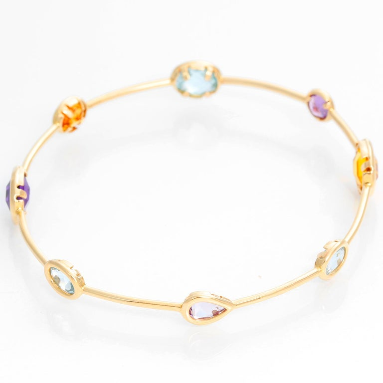 Women's 14 Karat Yellow Gold Amethyst, Aquamarine and Citrine Bracelet For Sale
